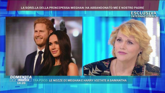Samantha Markle a Domenica Live |  l'appello a Meghan e Harry VIDEO
