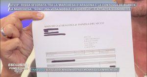 Pomeriggio 5: il documento esclusivo di Signoretti sulla Marchesa d'Aragona | VIDEO