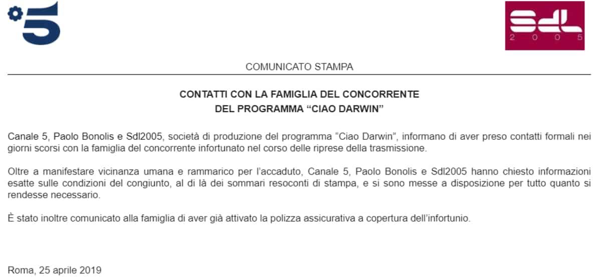 Il comunicato Mediaset sull'infortunio a Ciao Darwin