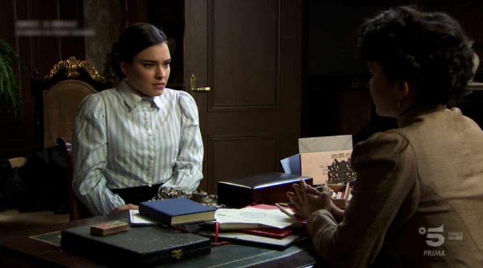 Leonor (l'attrice Alba Brunet) nella puntata di Una Vita del 27 aprile 2019