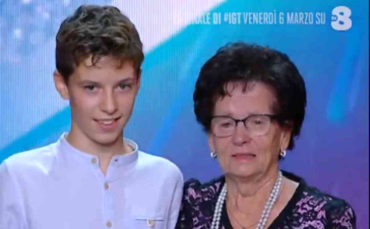 Francesco Carrer e la nonna a Italia's got talent 2020