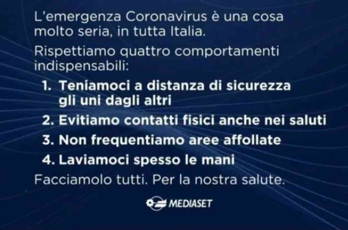 Lo spot di Mediaset sull'Emergenza Coronavirus