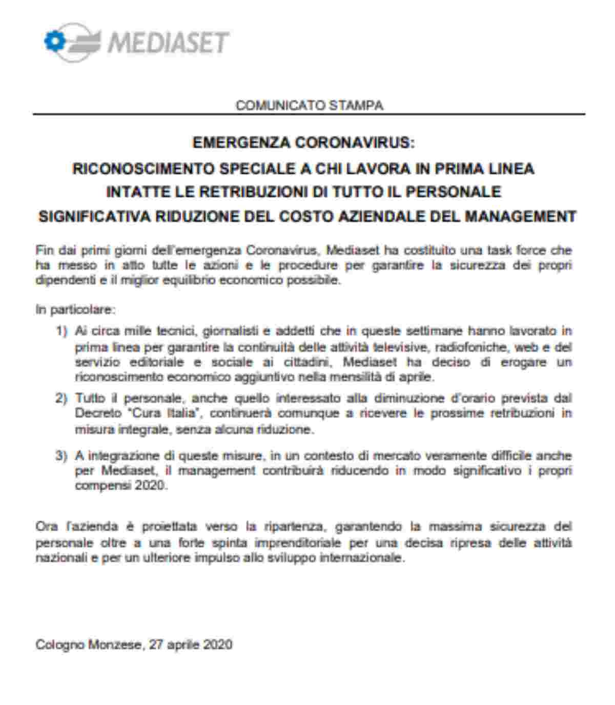 Il comunicato di Mediaset sul taglio degli stipendi dei manager e premio dei dipendenti