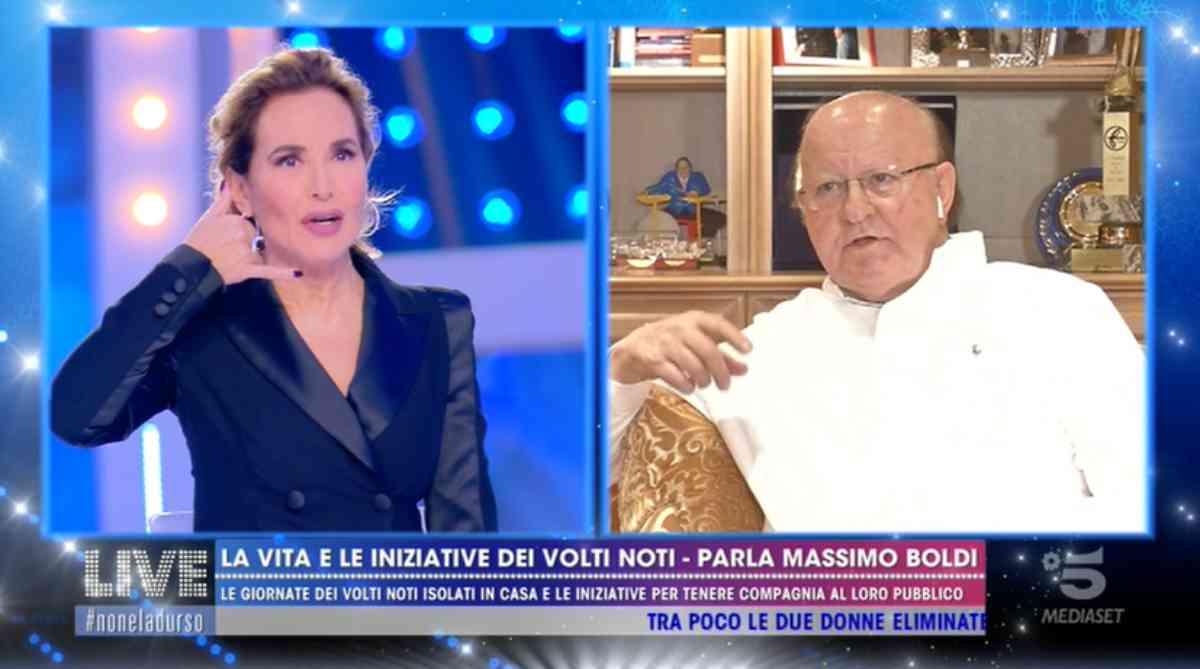 Massimo Boldi e Barbara D'Urso: siparietto a Live, video Mediaset