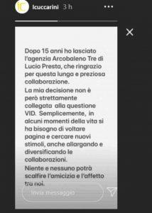 Il messaggio con cui Lorella Cuccarini ha annunciato l'addio all'agente Lucio Presta