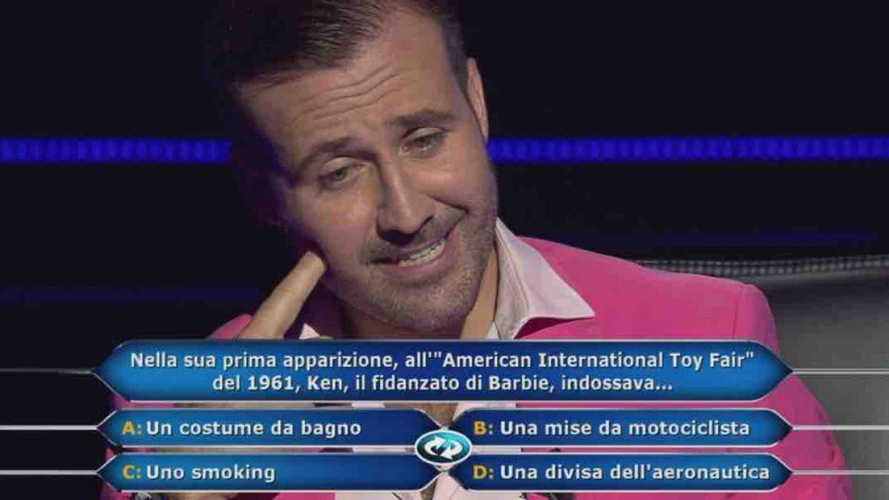 Valerio, protagonista di chi vuol essere milionario, alle prese con la domanda da 150mila euro.