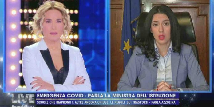 Lucia Azzolina a Live Non è la D'Urso